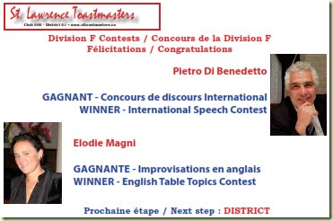 Pietro Elodie winners Toastmasters Division F 2016 contest