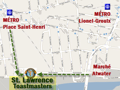 Club St-Lawrence Toastmasters Montreal - How to get there