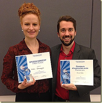 Nadine Pier-Luc gagnants concours Toastmasters Montreal