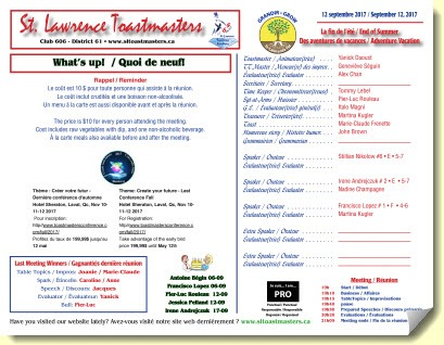 St-Lawrence-Toastmasters-Montreal-Programme-2017-09-12